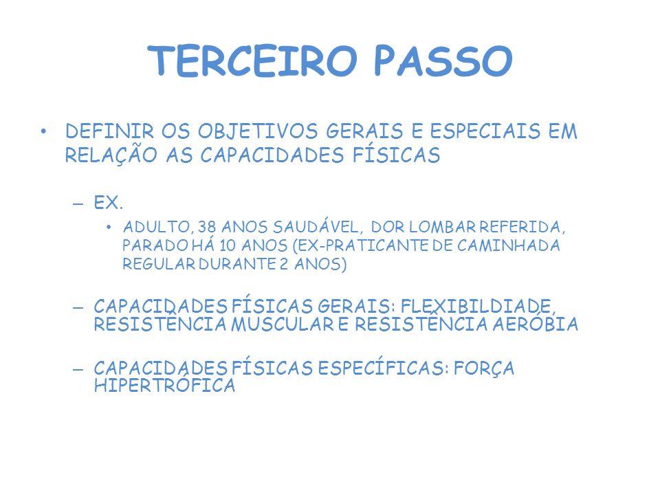 TERCEIRO PASSO DEFINIR OS OBJETIVOS GERAIS E ESPECIAIS EM RELAÇÃO AS CAPACIDADES FÍSICAS – EX. ADULTO, 38 ANOS SAUDÁVEL, DOR LOMBAR REFERIDA, PARADO H