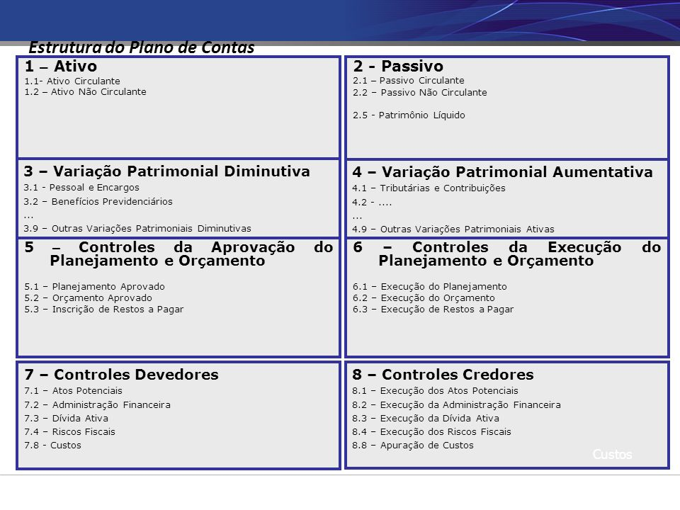 7 – Controles Devedores 7.1 – Atos Potenciais 7.2 – Administração Financeira 7.3 – Dívida Ativa 7.4 – Riscos Fiscais 7.8 - Custos 1 – Ativo 1.1- Ativo