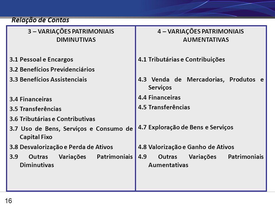 3 – VARIAÇÕES PATRIMONIAIS DIMINUTIVAS 3.1 Pessoal e Encargos 3.2 Benefícios Previdenciários 3.3 Benefícios Assistenciais 3.4 Financeiras 3.5 Transferências 3.6 Tributárias e Contributivas 3.7 Uso de Bens, Serviços e Consumo de Capital Fixo 3.8 Desvalorização e Perda de Ativos 3.9 Outras Variações Patrimoniais Diminutivas 4 – VARIAÇÕES PATRIMONIAIS AUMENTATIVAS 4.1 Tributárias e Contribuições 4.3 Venda de Mercadorias, Produtos e Serviços 4.4 Financeiras 4.5 Transferências 4.7 Exploração de Bens e Serviços 4.8 Valorização e Ganho de Ativos 4.9 Outras Variações Patrimoniais Aumentativas 16 Relação de Contas