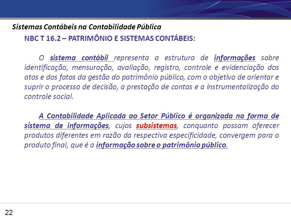 22 NBC T 16.2 – PATRIMÔNIO E SISTEMAS CONTÁBEIS: O sistema contábil representa a estrutura de informações sobre identificação, mensuração, avaliação,