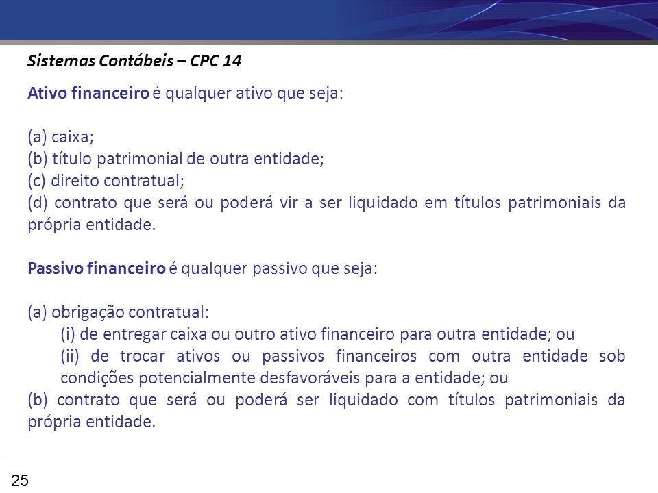 25 Ativo financeiro é qualquer ativo que seja: (a) caixa; (b) título patrimonial de outra entidade; (c) direito contratual; (d) contrato que será ou poderá vir a ser liquidado em títulos patrimoniais da própria entidade.