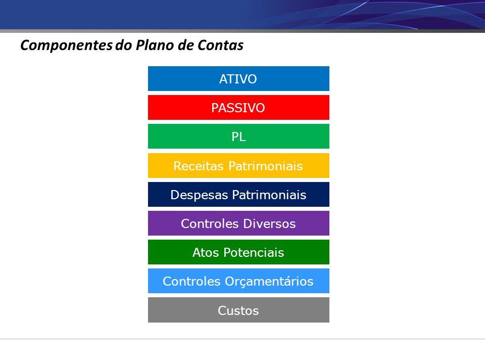 ATIVO PASSIVO PL Receitas Patrimoniais Despesas Patrimoniais Controles Diversos Atos Potenciais Controles Orçamentários Custos Componentes do Plano de Contas