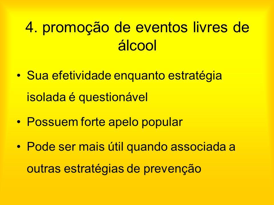 4. promoção de eventos livres de álcool Sua efetividade enquanto estratégia isolada é questionável Possuem forte apelo popular Pode ser mais útil quan
