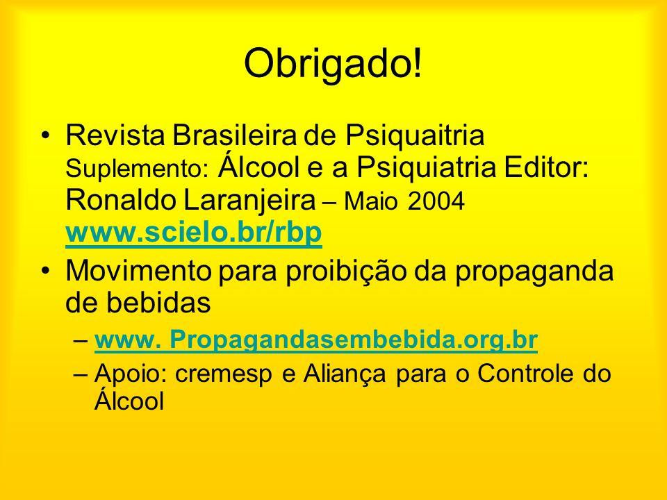 Obrigado! Revista Brasileira de Psiquaitria Suplemento: Álcool e a Psiquiatria Editor: Ronaldo Laranjeira – Maio 2004 www.scielo.br/rbp www.scielo.br/