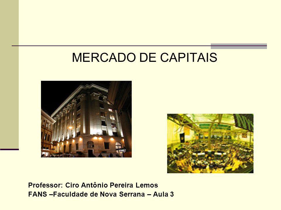MERCADO DE CAPITAIS Professor: Ciro Antônio Pereira Lemos FANS –Faculdade de Nova Serrana – Aula 3