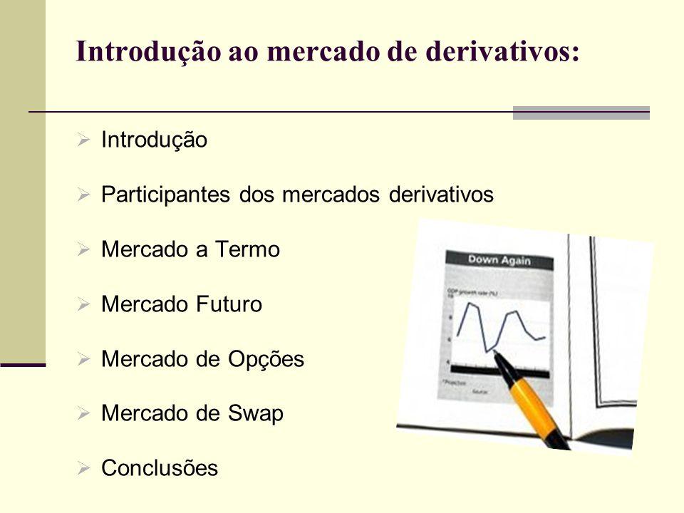 Introdução ao mercado de derivativos: Introdução Participantes dos mercados derivativos Mercado a Termo Mercado Futuro Mercado de Opções Mercado de Sw
