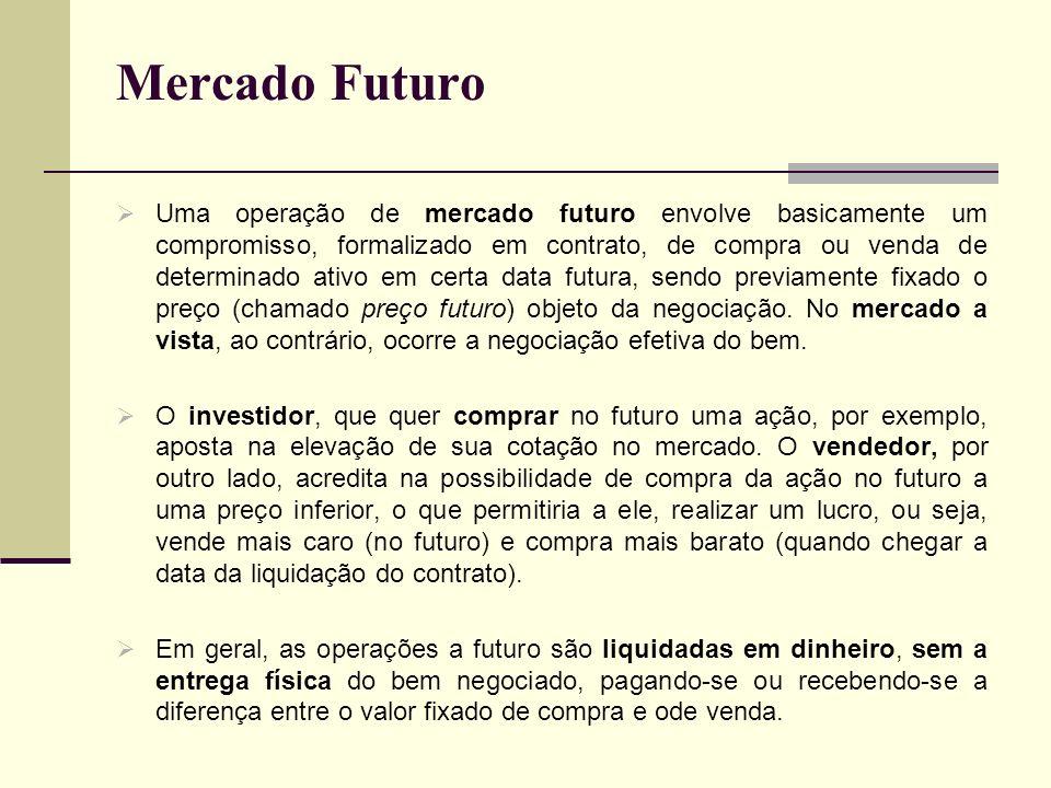 Mercado Futuro Uma operação de mercado futuro envolve basicamente um compromisso, formalizado em contrato, de compra ou venda de determinado ativo em