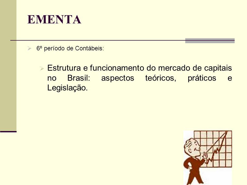 EMENTA 6º período de Contábeis: Estrutura e funcionamento do mercado de capitais no Brasil: aspectos teóricos, práticos e Legislação.