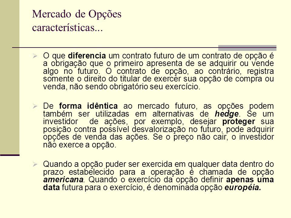 Mercado de Opções características... O que diferencia um contrato futuro de um contrato de opção é a obrigação que o primeiro apresenta de se adquirir