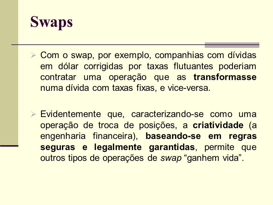 Swaps Com o swap, por exemplo, companhias com dívidas em dólar corrigidas por taxas flutuantes poderiam contratar uma operação que as transformasse nu