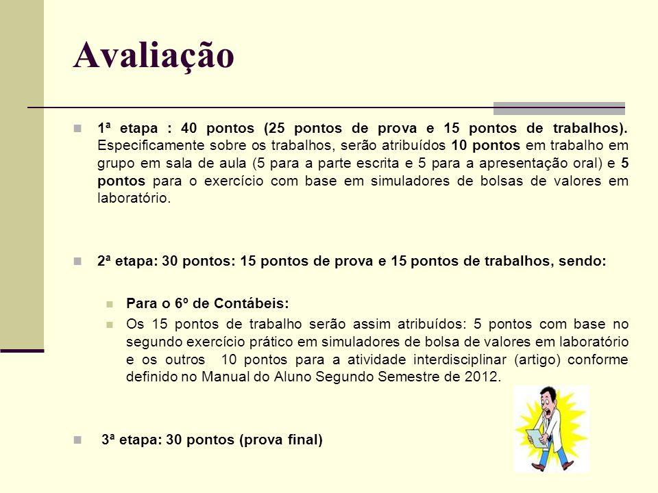 Avaliação 1ª etapa : 40 pontos (25 pontos de prova e 15 pontos de trabalhos). Especificamente sobre os trabalhos, serão atribuídos 10 pontos em trabal