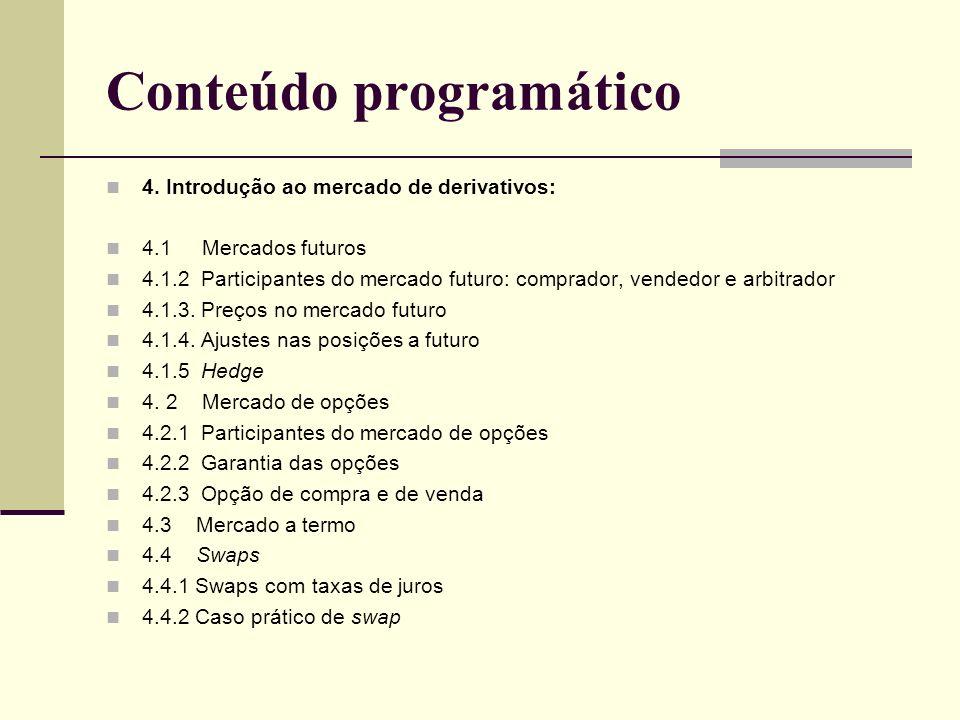 Conteúdo programático 4. Introdução ao mercado de derivativos: 4.1 Mercados futuros 4.1.2 Participantes do mercado futuro: comprador, vendedor e arbit