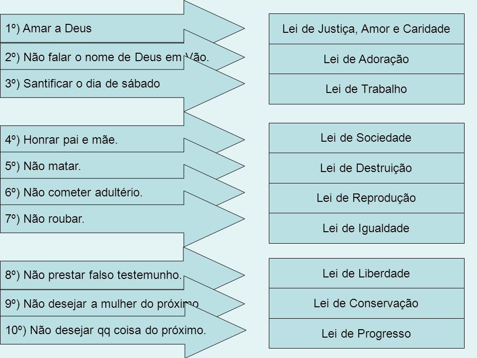 Lei de Justiça, Amor e Caridade 1º) Amar a Deus 2º) Não falar o nome de Deus em Vão. Lei de Adoração Lei de Trabalho Lei de Sociedade Lei de Destruiçã