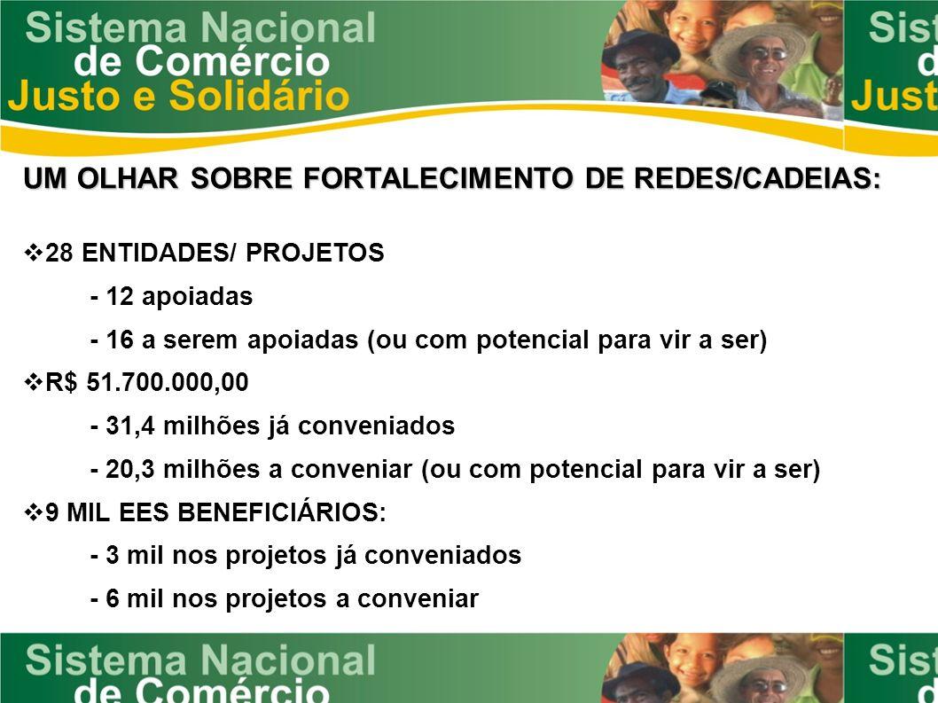 UM OLHAR SOBRE FORTALECIMENTO DE REDES/CADEIAS: 28 ENTIDADES/ PROJETOS - 12 apoiadas - 16 a serem apoiadas (ou com potencial para vir a ser) R$ 51.700