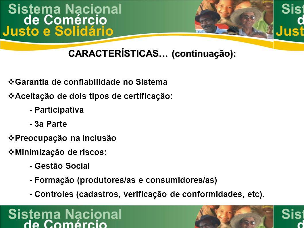 CARACTERÍSTICAS… (continuação): Garantia de confiabilidade no Sistema Aceitação de dois tipos de certificação: - Participativa - 3a Parte Preocupação