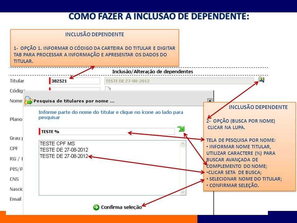 EXCLUSÕES 1- INFORMAR CÓDIGO DE CARTEIRA OU BUSCAR NA LUPA; 2- TAB PARA BUSCAR CADASTRO NO BANCO DADOS; 3- MOTIVO: CANCELAMENTO, DEMISSÃO E ÓBITO; 4- CONFIRMAR DELIGAMENTO.