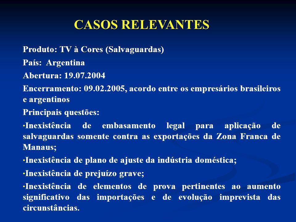 Produto: TV à Cores (Salvaguardas) País: Argentina Abertura: 19.07.2004 Encerramento: 09.02.2005, acordo entre os empresários brasileiros e argentinos