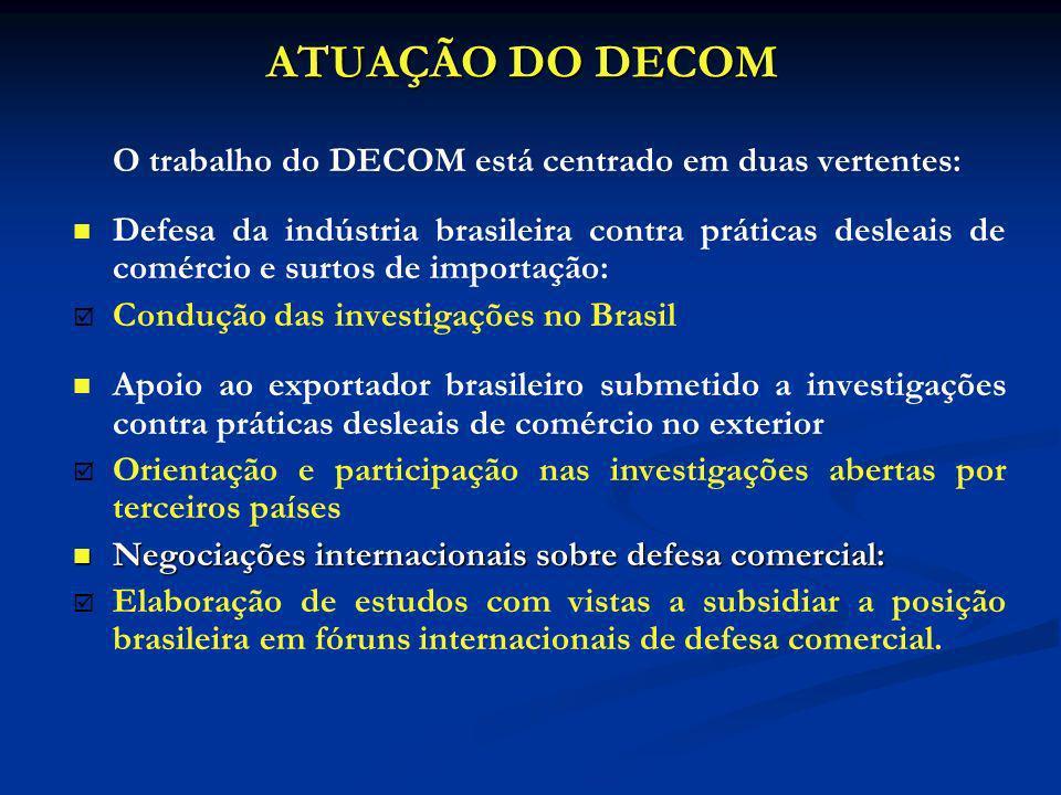 ATUAÇÃO DO DECOM O trabalho do DECOM está centrado em duas vertentes: Defesa da indústria brasileira contra práticas desleais de comércio e surtos de