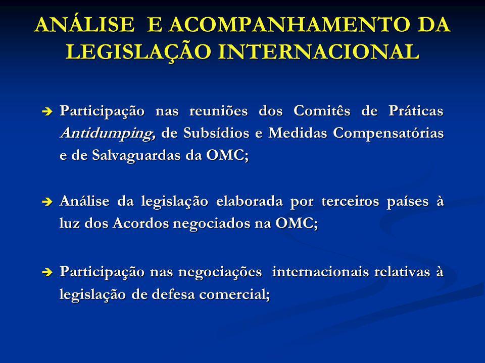 ANÁLISE E ACOMPANHAMENTO DA LEGISLAÇÃO INTERNACIONAL è Participação nas reuniões dos Comitês de Práticas Antidumping, de Subsídios e Medidas Compensat