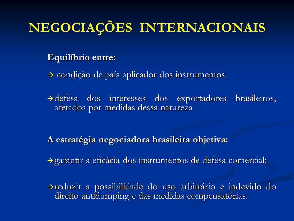 NEGOCIAÇÕES INTERNACIONAIS Equilíbrio entre: condição de país aplicador dos instrumentos condição de país aplicador dos instrumentos defesa dos intere