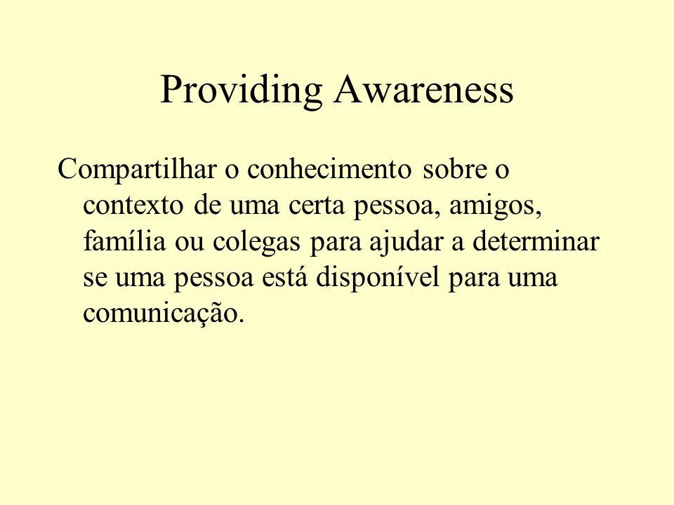 Providing Awareness Compartilhar o conhecimento sobre o contexto de uma certa pessoa, amigos, família ou colegas para ajudar a determinar se uma pesso