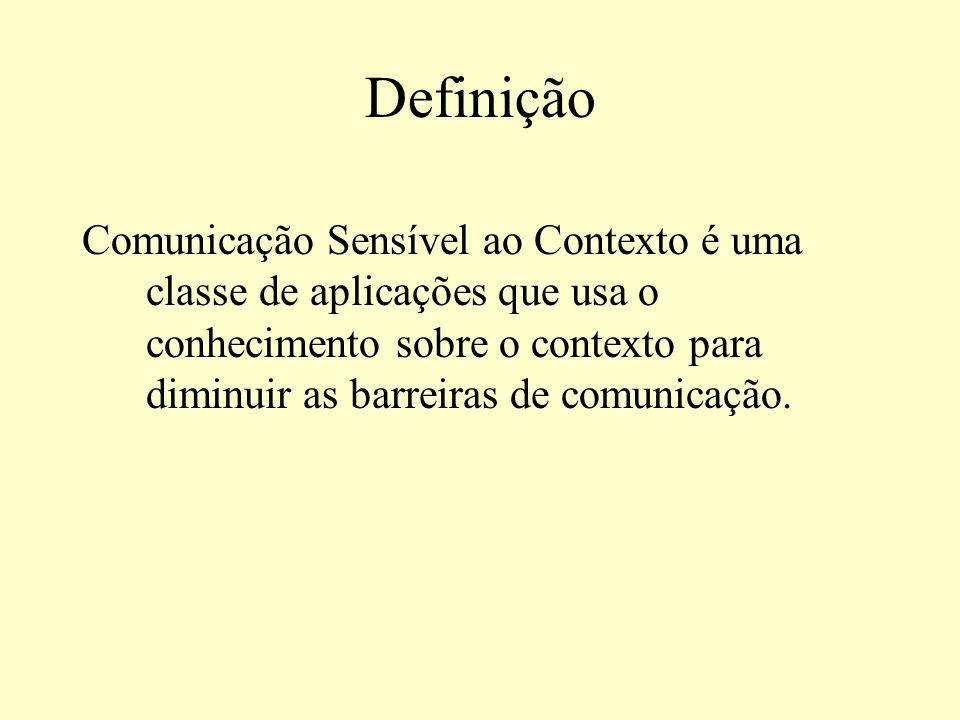 Definição Comunicação Sensível ao Contexto é uma classe de aplicações que usa o conhecimento sobre o contexto para diminuir as barreiras de comunicaçã