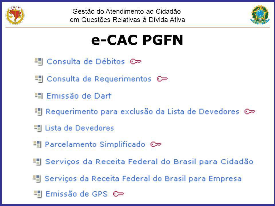 Gestão do Atendimento ao Cidadão em Questões Relativas à D í vida Ativa e-CAC PGFN