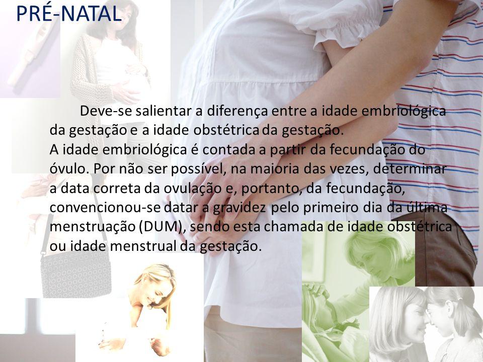Deve-se salientar a diferença entre a idade embriológica da gestação e a idade obstétrica da gestação. A idade embriológica é contada a partir da fecu