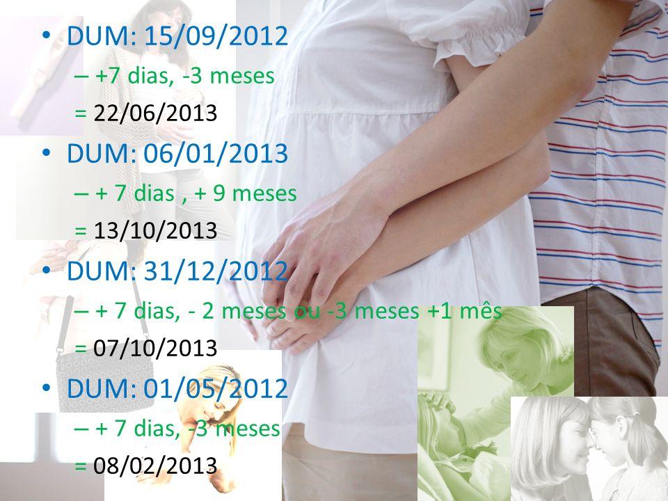 DUM: 15/09/2012 – +7 dias, -3 meses = 22/06/2013 DUM: 06/01/2013 – + 7 dias, + 9 meses = 13/10/2013 DUM: 31/12/2012 – + 7 dias, - 2 meses ou -3 meses