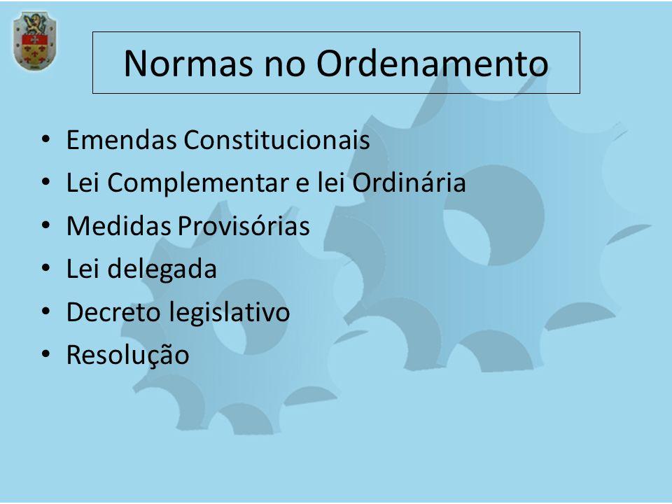 Normas no Ordenamento Emendas Constitucionais Lei Complementar e lei Ordinária Medidas Provisórias Lei delegada Decreto legislativo Resolução