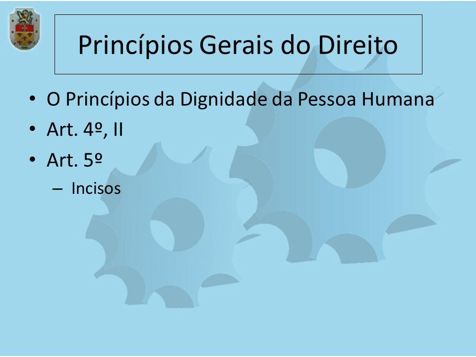 Princípios Gerais do Direito O Princípios da Dignidade da Pessoa Humana Art. 4º, II Art. 5º – Incisos