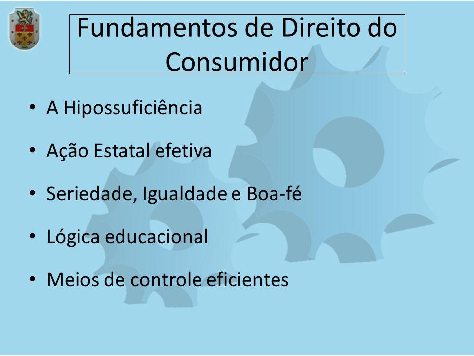 Fundamentos de Direito do Consumidor A Hipossuficiência Ação Estatal efetiva Seriedade, Igualdade e Boa-fé Lógica educacional Meios de controle eficie