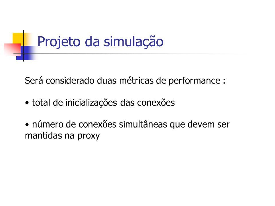Projeto da simulação Será considerado duas métricas de performance : total de inicializações das conexões número de conexões simultâneas que devem ser mantidas na proxy