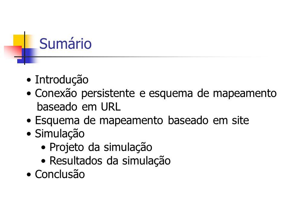 Sumário Introdução Conexão persistente e esquema de mapeamento baseado em URL Esquema de mapeamento baseado em site Simulação Projeto da simulação Resultados da simulação Conclusão