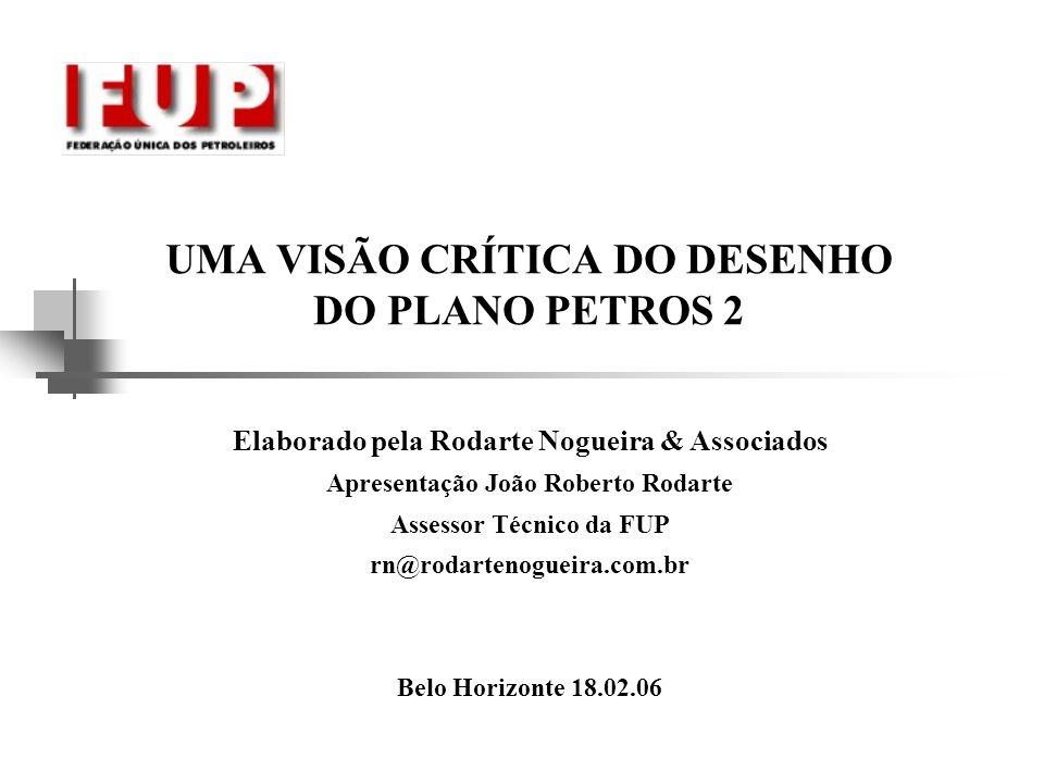 UMA VISÃO CRÍTICA DO DESENHO DO PLANO PETROS 2 Elaborado pela Rodarte Nogueira & Associados Apresentação João Roberto Rodarte Assessor Técnico da FUP