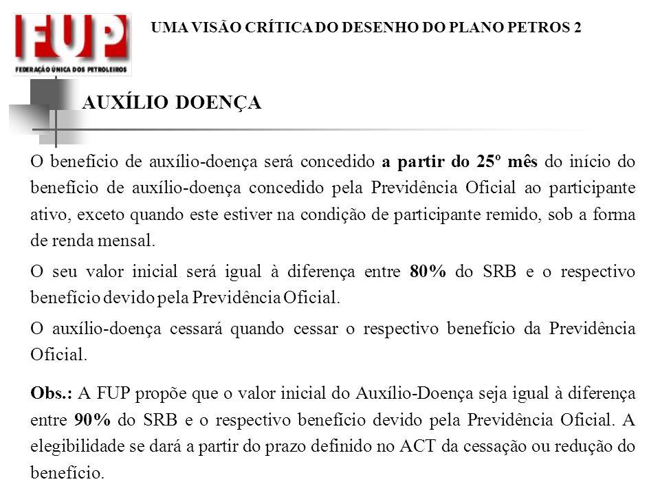 UMA VISÃO CRÍTICA DO DESENHO DO PLANO PETROS 2 AUXÍLIO DOENÇA O benefício de auxílio-doença será concedido a partir do 25º mês do início do benefício