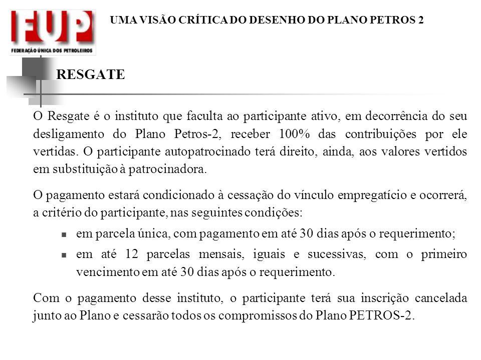 UMA VISÃO CRÍTICA DO DESENHO DO PLANO PETROS 2 RESGATE O Resgate é o instituto que faculta ao participante ativo, em decorrência do seu desligamento do Plano Petros-2, receber 100% das contribuições por ele vertidas.