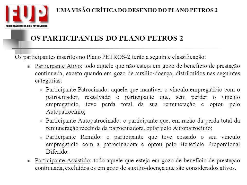 UMA VISÃO CRÍTICA DO DESENHO DO PLANO PETROS 2 OS PARTICIPANTES DO PLANO PETROS 2 Os participantes inscritos no Plano PETROS-2 terão a seguinte classi