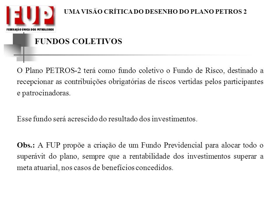UMA VISÃO CRÍTICA DO DESENHO DO PLANO PETROS 2 FUNDOS COLETIVOS O Plano PETROS-2 terá como fundo coletivo o Fundo de Risco, destinado a recepcionar as