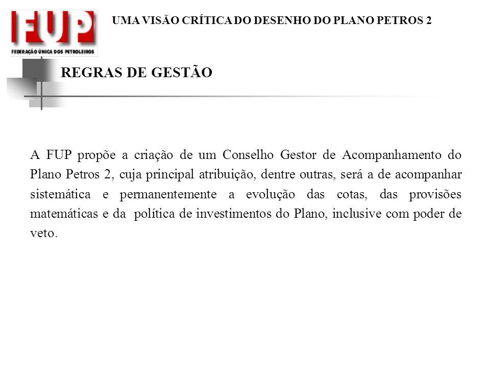 UMA VISÃO CRÍTICA DO DESENHO DO PLANO PETROS 2 REGRAS DE GESTÃO A FUP propõe a criação de um Conselho Gestor de Acompanhamento do Plano Petros 2, cuja