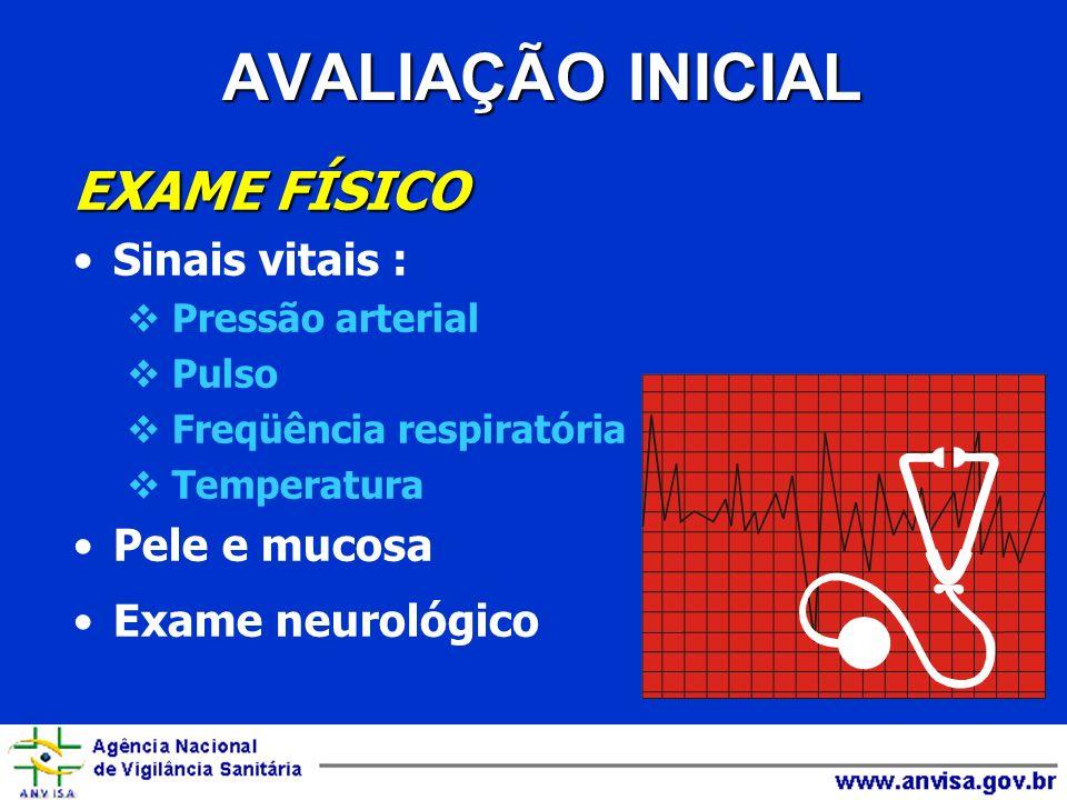 EXAME FÍSICO Sinais vitais : Pressão arterial Pulso Freqüência respiratória Temperatura Pele e mucosa Exame neurológico AVALIAÇÃO INICIAL