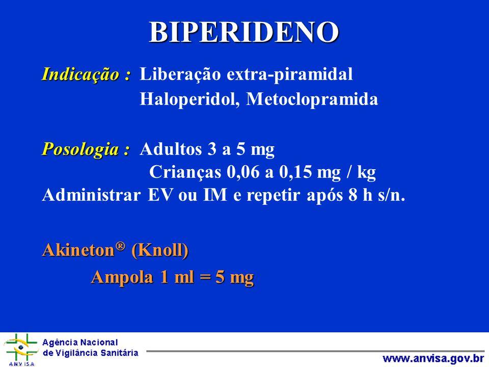BIPERIDENO Indicação : Indicação : Liberação extra-piramidal Haloperidol, Metoclopramida Posologia : Posologia : Adultos 3 a 5 mg Crianças 0,06 a 0,15