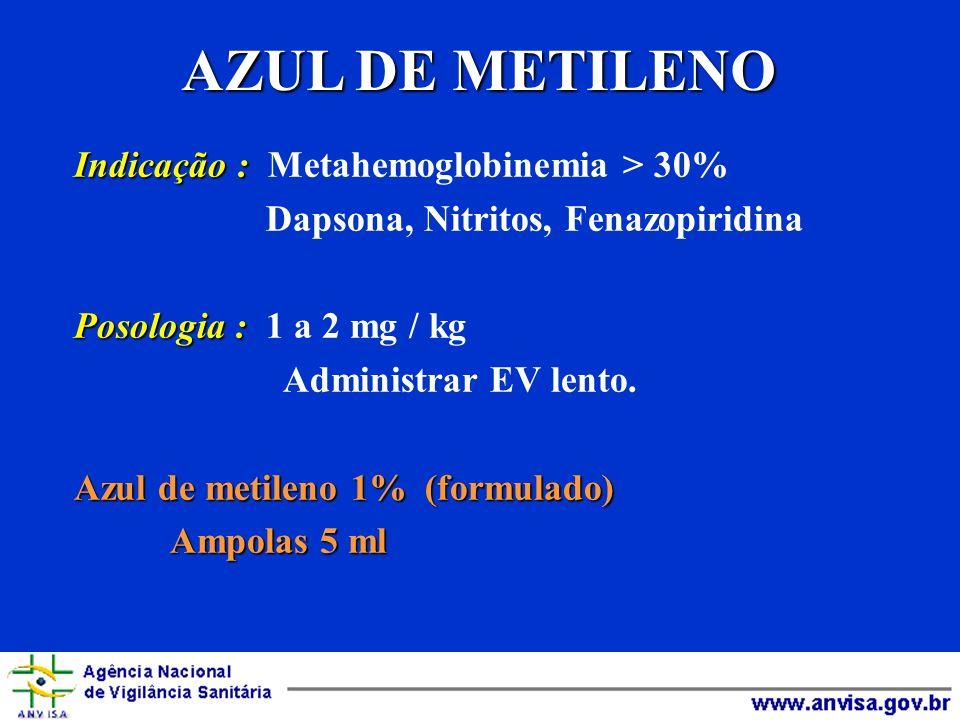 AZUL DE METILENO Indicação : Indicação : Metahemoglobinemia > 30% Dapsona, Nitritos, Fenazopiridina Posologia : Posologia : 1 a 2 mg / kg Administrar