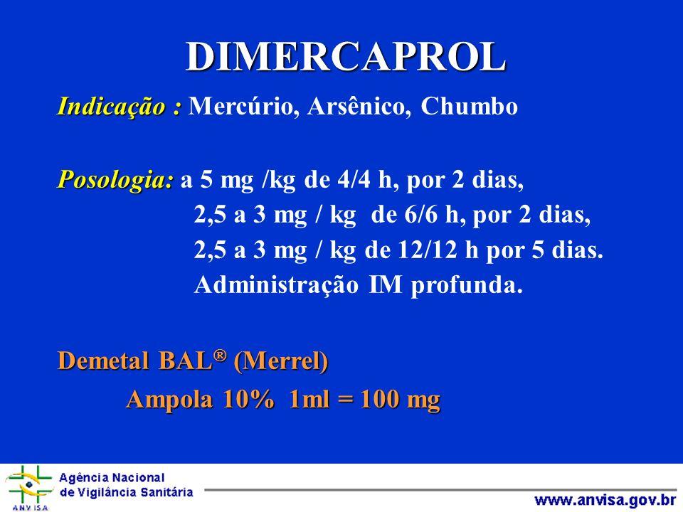 DIMERCAPROL Indicação : Indicação : Mercúrio, Arsênico, Chumbo Posologia: Posologia: a 5 mg /kg de 4/4 h, por 2 dias, 2,5 a 3 mg / kg de 6/6 h, por 2