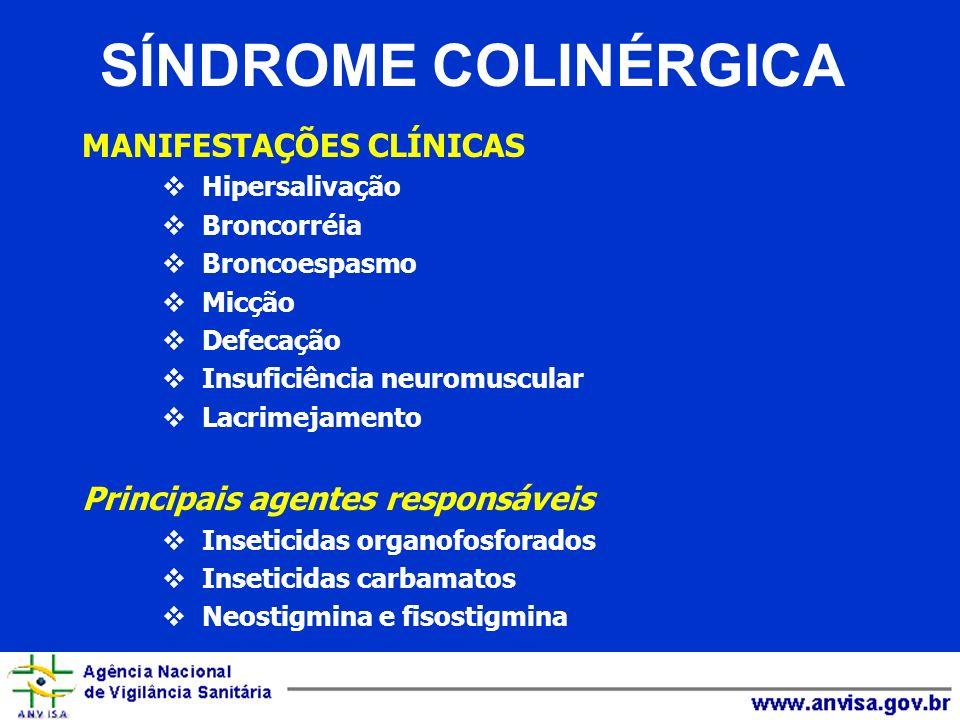 MANIFESTAÇÕES CLÍNICAS Hipersalivação Broncorréia Broncoespasmo Micção Defecação Insuficiência neuromuscular Lacrimejamento Principais agentes respons