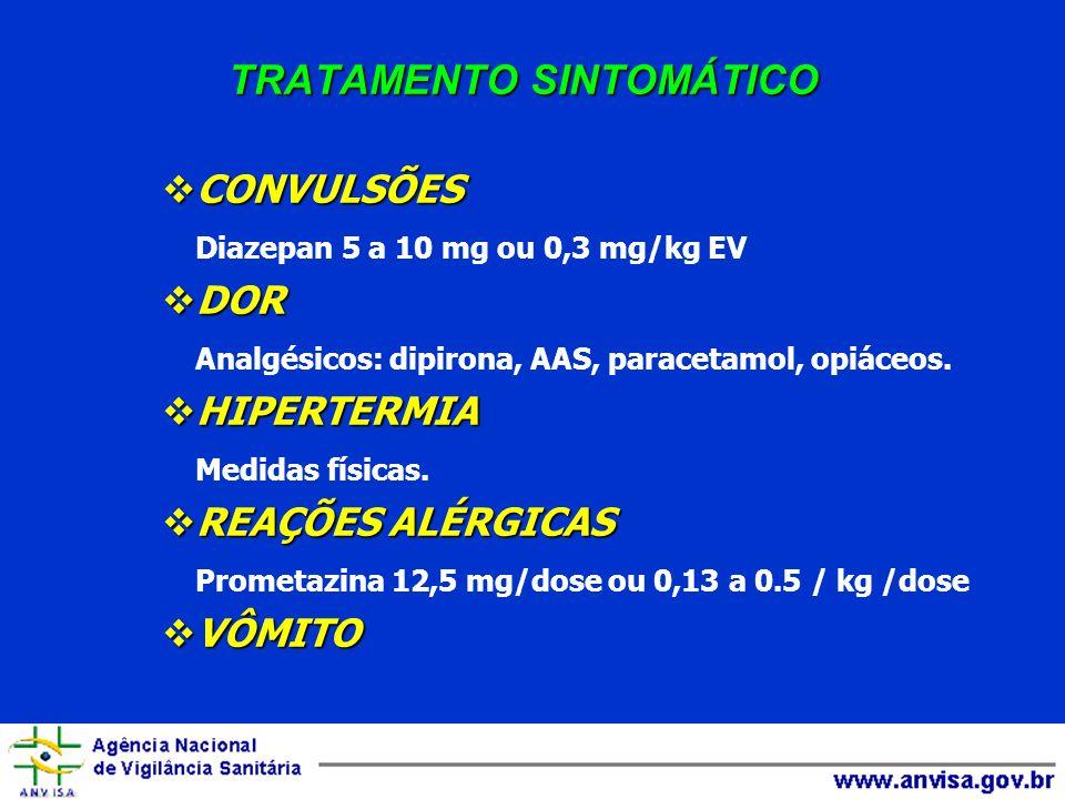 TRATAMENTO SINTOMÁTICO CONVULSÕES CONVULSÕES Diazepan 5 a 10 mg ou 0,3 mg/kg EV DOR DOR Analgésicos: dipirona, AAS, paracetamol, opiáceos. HIPERTERMIA