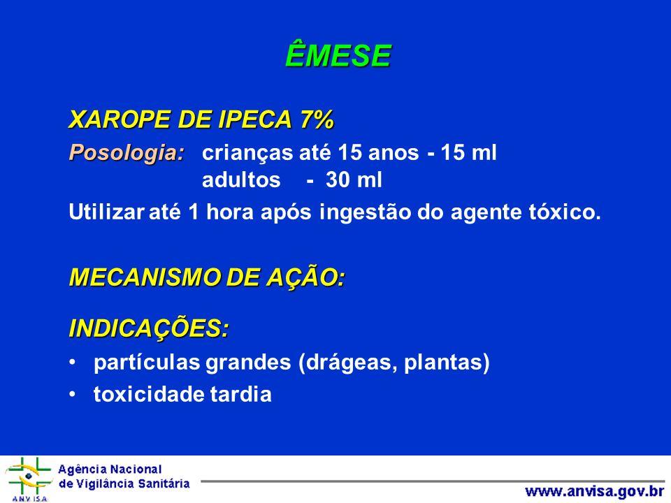 ÊMESE XAROPE DE IPECA 7% XAROPE DE IPECA 7% Via oral Posologia: Posologia: crianças até 15 anos - 15 ml adultos - 30 ml Utilizar até 1 hora após inges