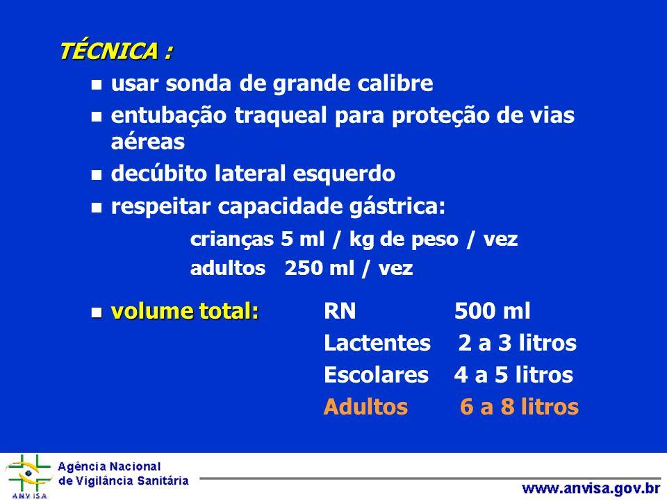 TÉCNICA : n usar sonda de grande calibre n entubação traqueal para proteção de vias aéreas n decúbito lateral esquerdo n respeitar capacidade gástrica