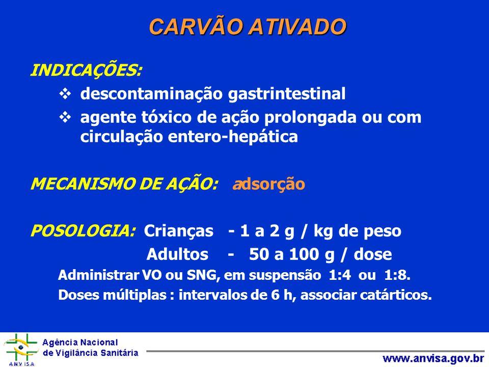 CARVÃO ATIVADO INDICAÇÕES: descontaminação gastrintestinal agente tóxico de ação prolongada ou com circulação entero-hepática MECANISMO DE AÇÃO: adsor
