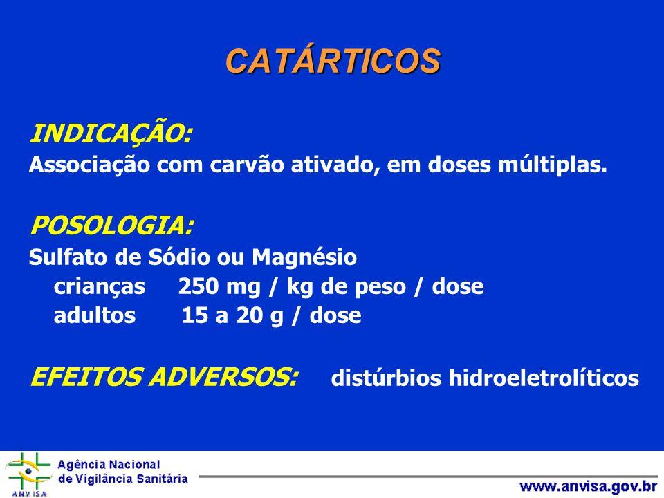 CATÁRTICOS INDICAÇÃO: Associação com carvão ativado, em doses múltiplas. POSOLOGIA: Sulfato de Sódio ou Magnésio crianças 250 mg / kg de peso / dose a